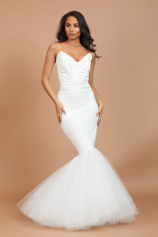 Ivory Plunge Neck Fishtail Tulle Dress