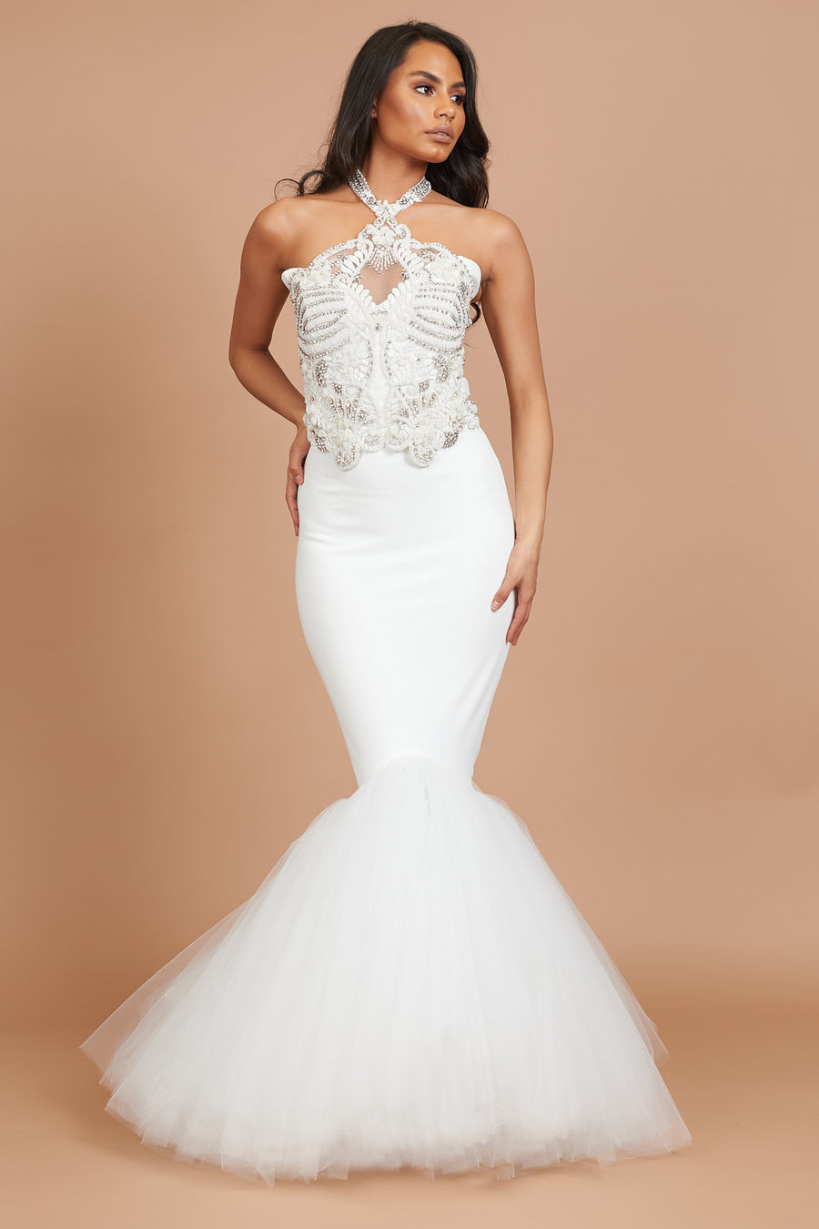 Ivory Beaded Fishtail Tulle Dress