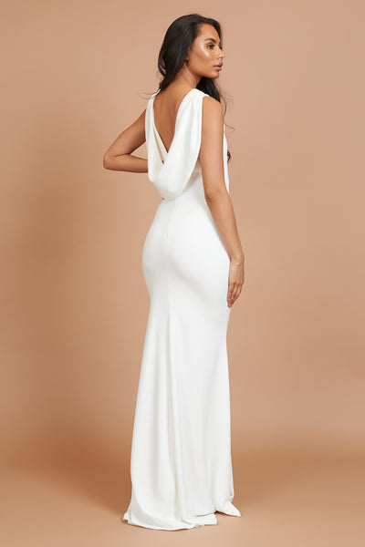 Ivory Cowl Neck Bridesmaid Dress