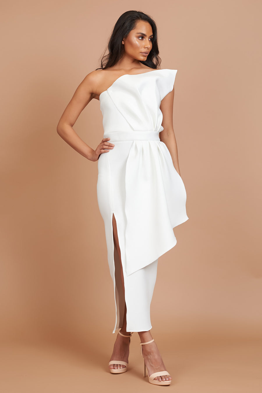 Ivory Draped Bridesmaid Dress