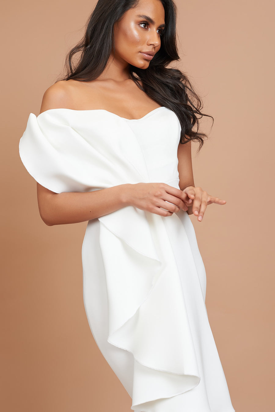 Ivory Draped Bardot Bridesmaid Dress