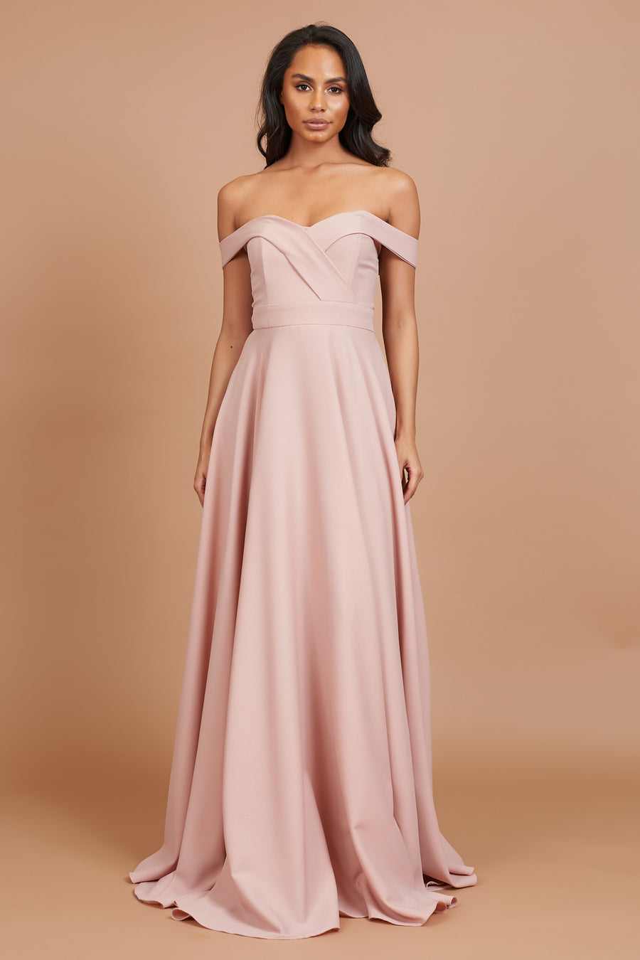 Dusty Pink Skylla Flared Bridesmaid Dress