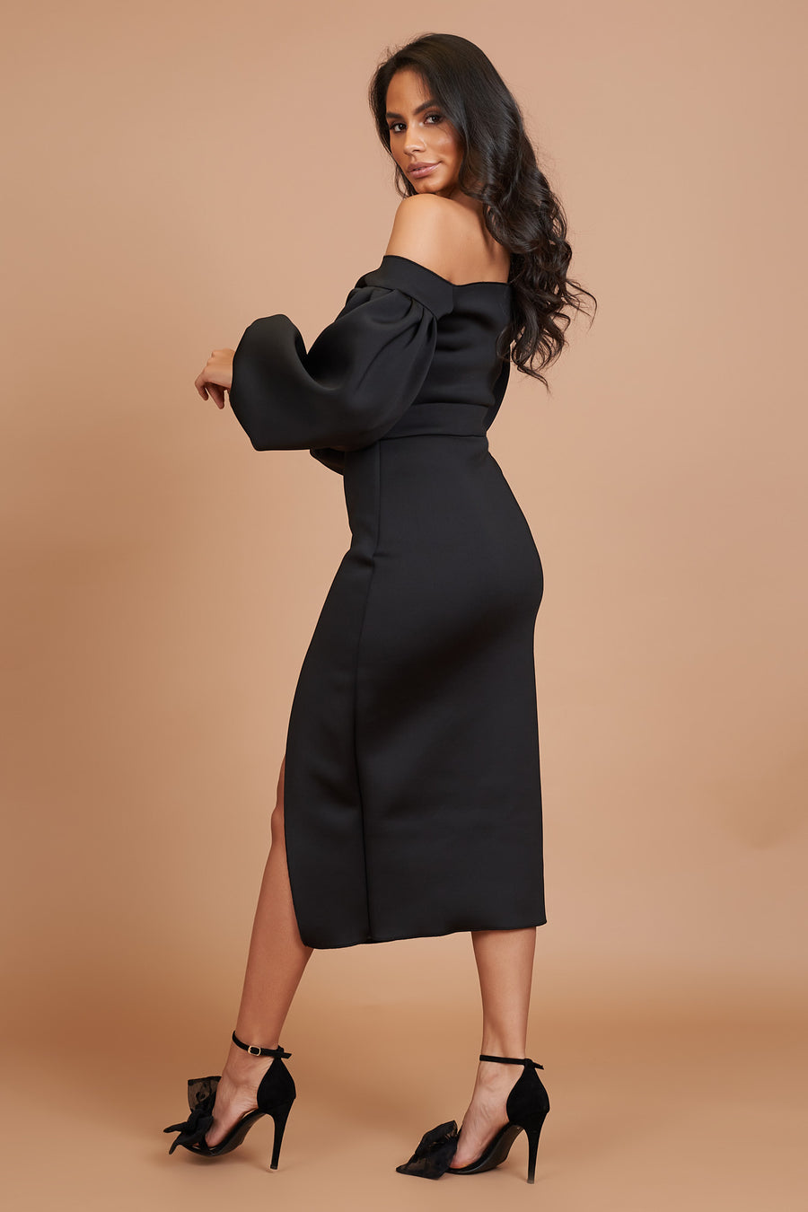 Black Bardot Split Dress