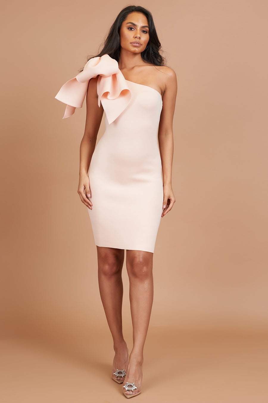 Peach Bow Detail Mini Dress
