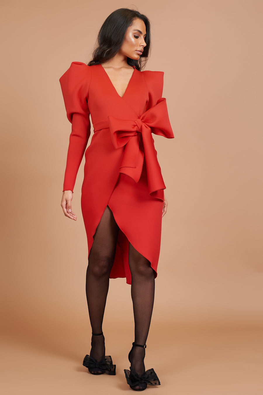 Red Bow Detail Wrap Dress