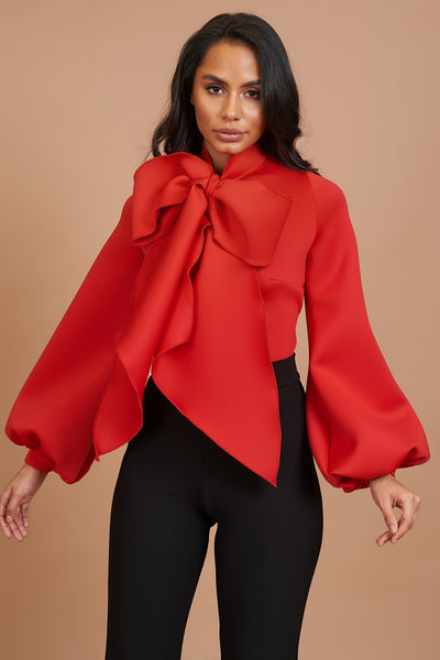 Red Balloon Sleeve Pussy Bow Top