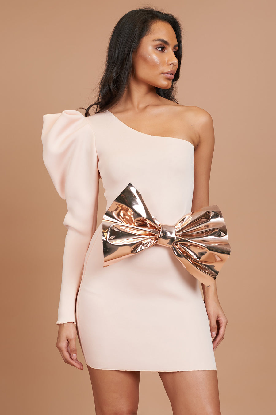 Peach Puff Sleeve Bodycon Dress