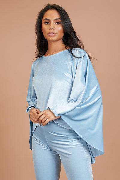 Baby Blue Velvet Taba Top