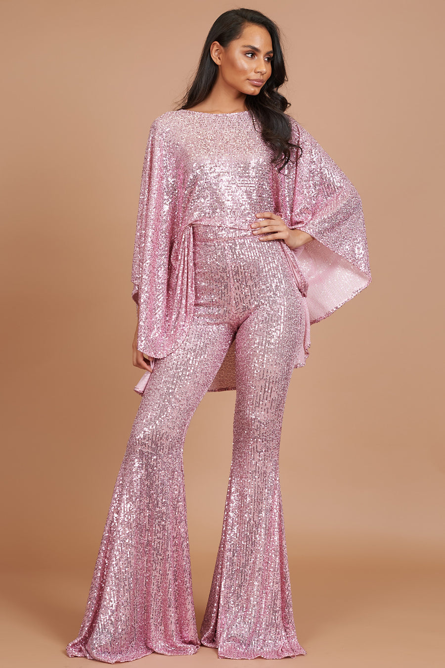 Pink Sequin Taba Suit