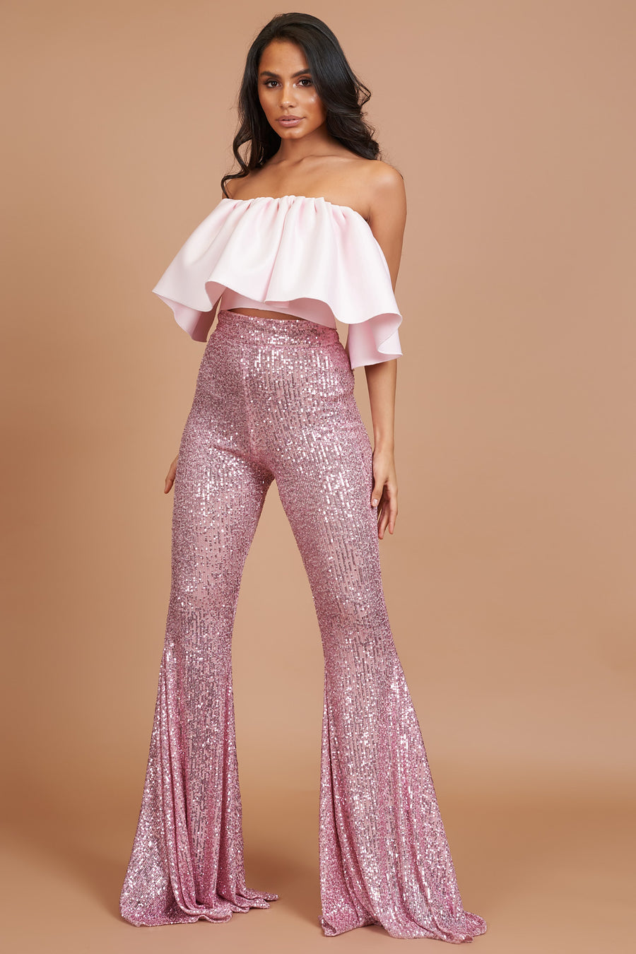 Pink Sequin Stretch Flares