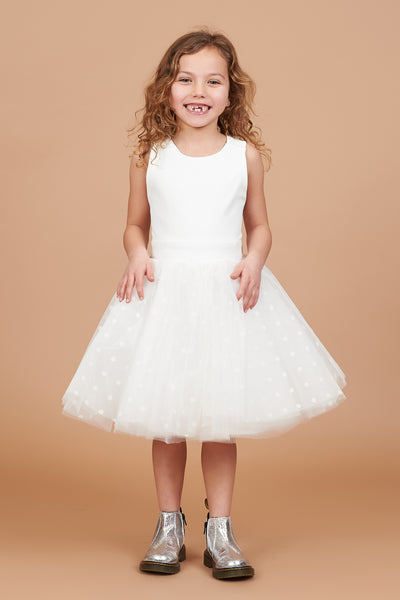 Faith Ivory Polka Dot Tulle Dress