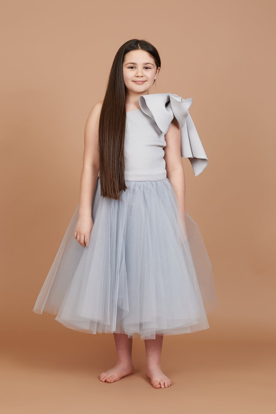 Ciara Silver Bow Shoulder Tulle Dress