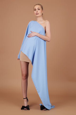 Powder Blue Maternity Drape Dress