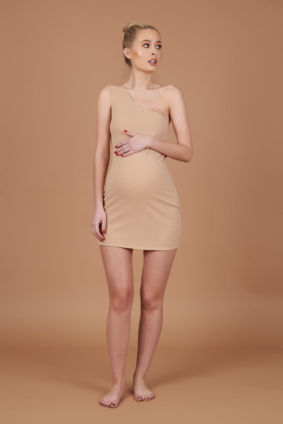 Beige Bodycon Maternity Mini Dress