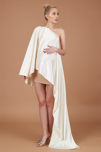 Cream Sheen Maternity Drape Dress