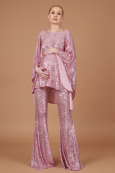 Pink Sequin Maternity Taba Suit
