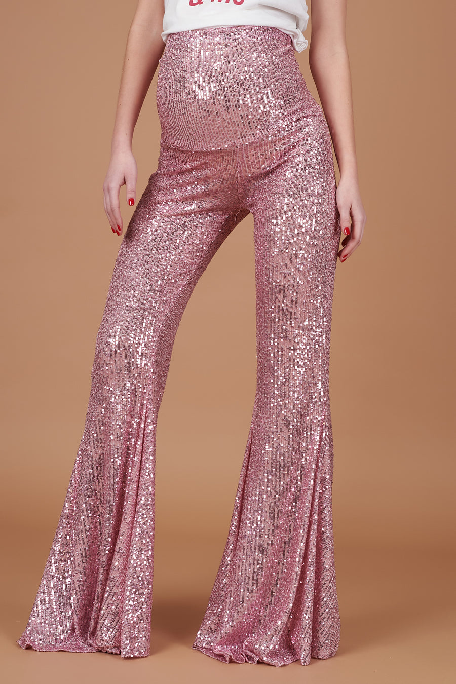 Pink Maternity Sequin Trousers