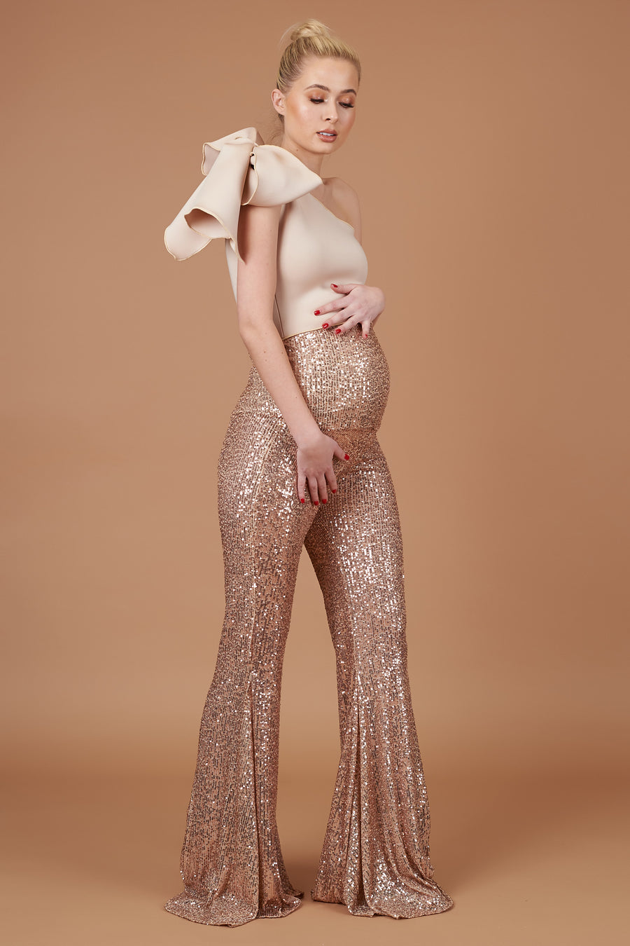 Rose Gold Maternity Sequin Trousers