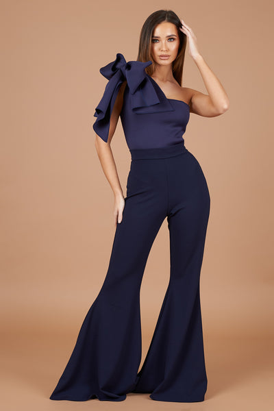 Navy Bow Shoulder Jumpsuit