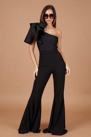 Black Bow Shoulder Jumpsuit