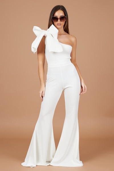 Ivory Bow Shoulder Jumpsuit