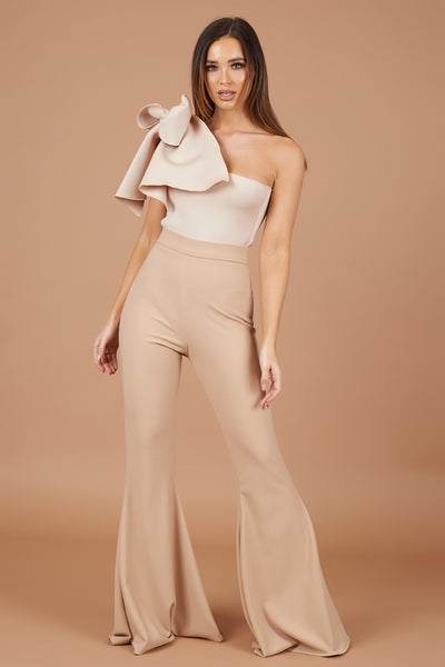 Nude Bow Shoulder Jumpsuit