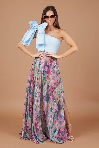 Pink Tropical Floral Maxi Skirt