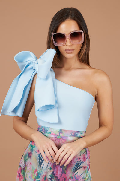 Baby Blue One Shoulder Bow Top