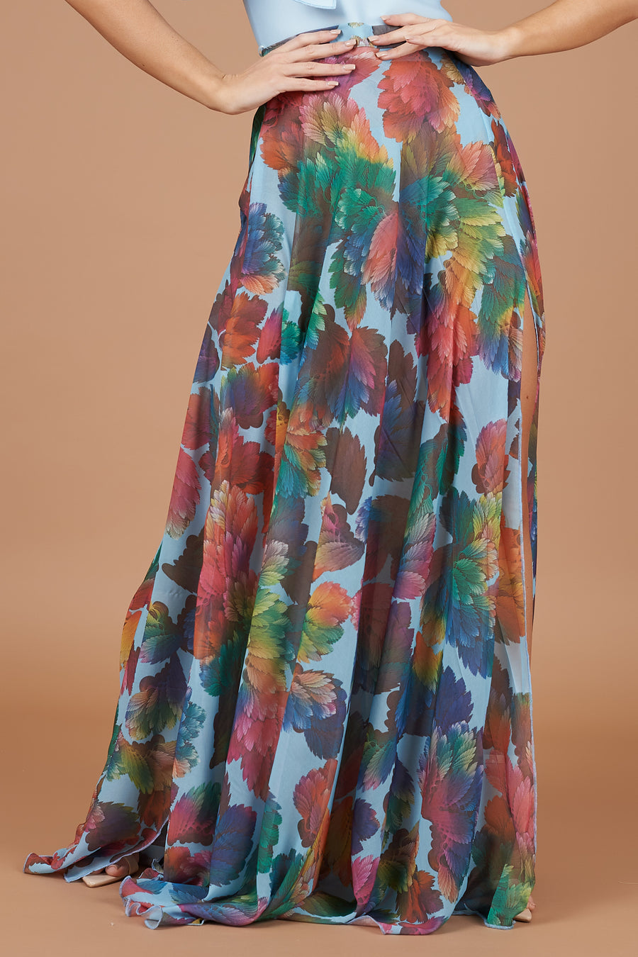 Blue Leaf Print Maxi Skirt