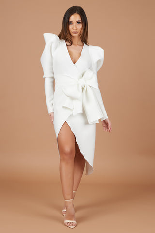 Ivory Bow Detail Wrap Dress