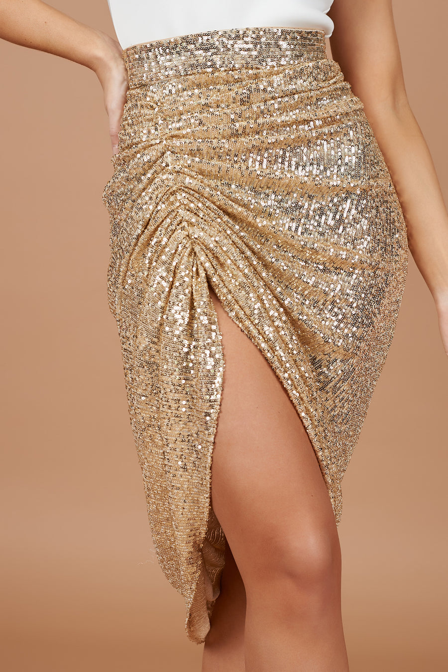 Gold Sequin Drape Midi Skirt