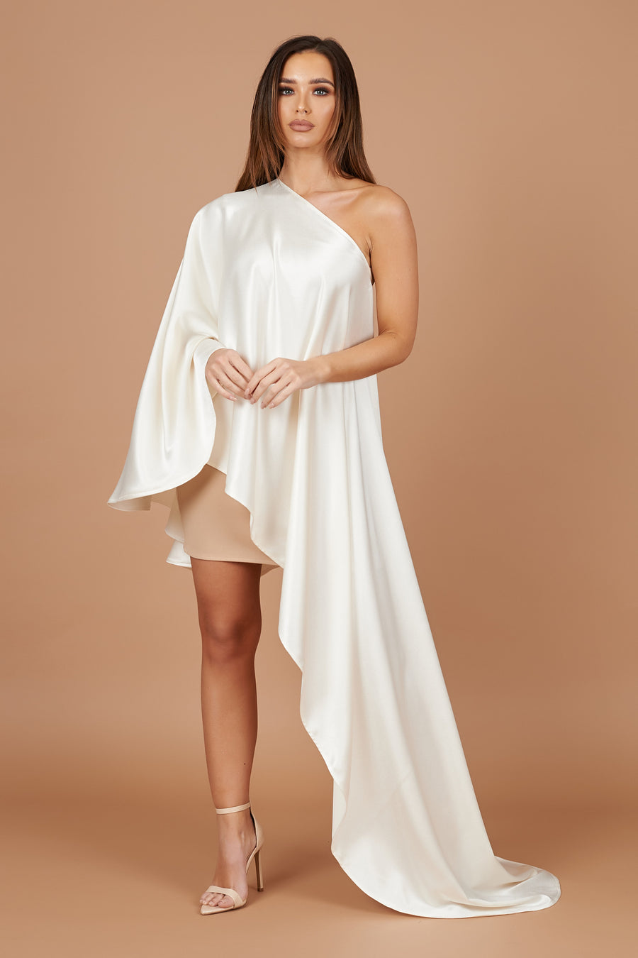 Cream Sheen Asymmetric Drape Dress