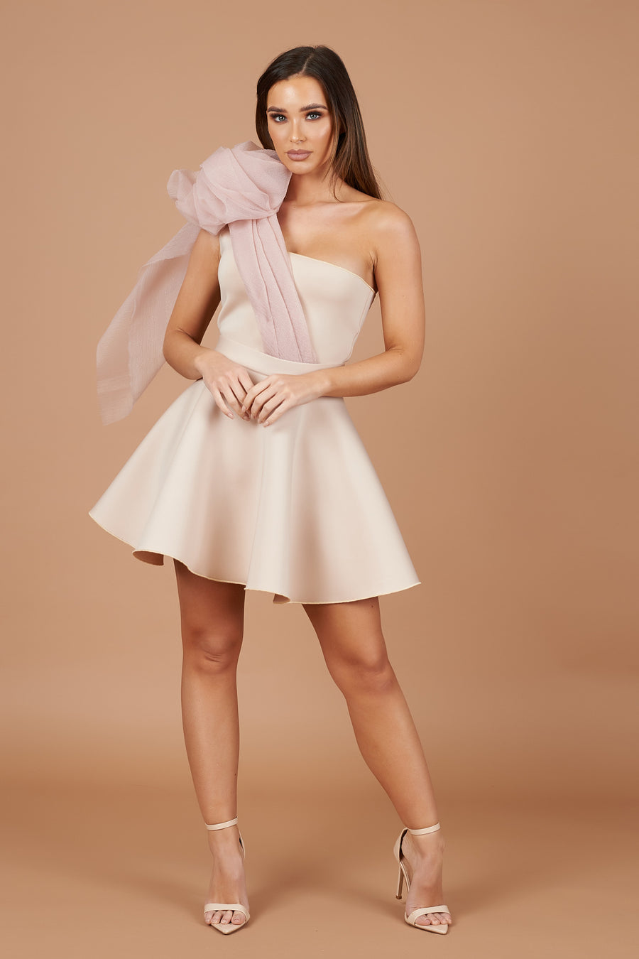 Beige Organza Drape Skater Dress