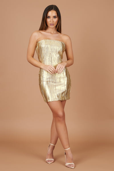 Gold Lame Bandeau Dress