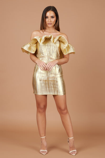 Gold Lame Ruffle Bardot Dress