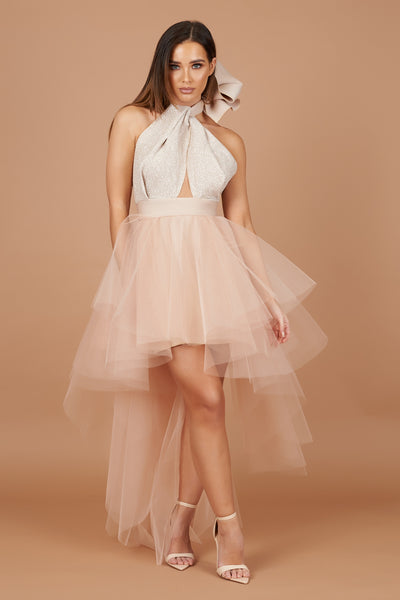 Nude Sparkle Halter Roxy Tulle Dress