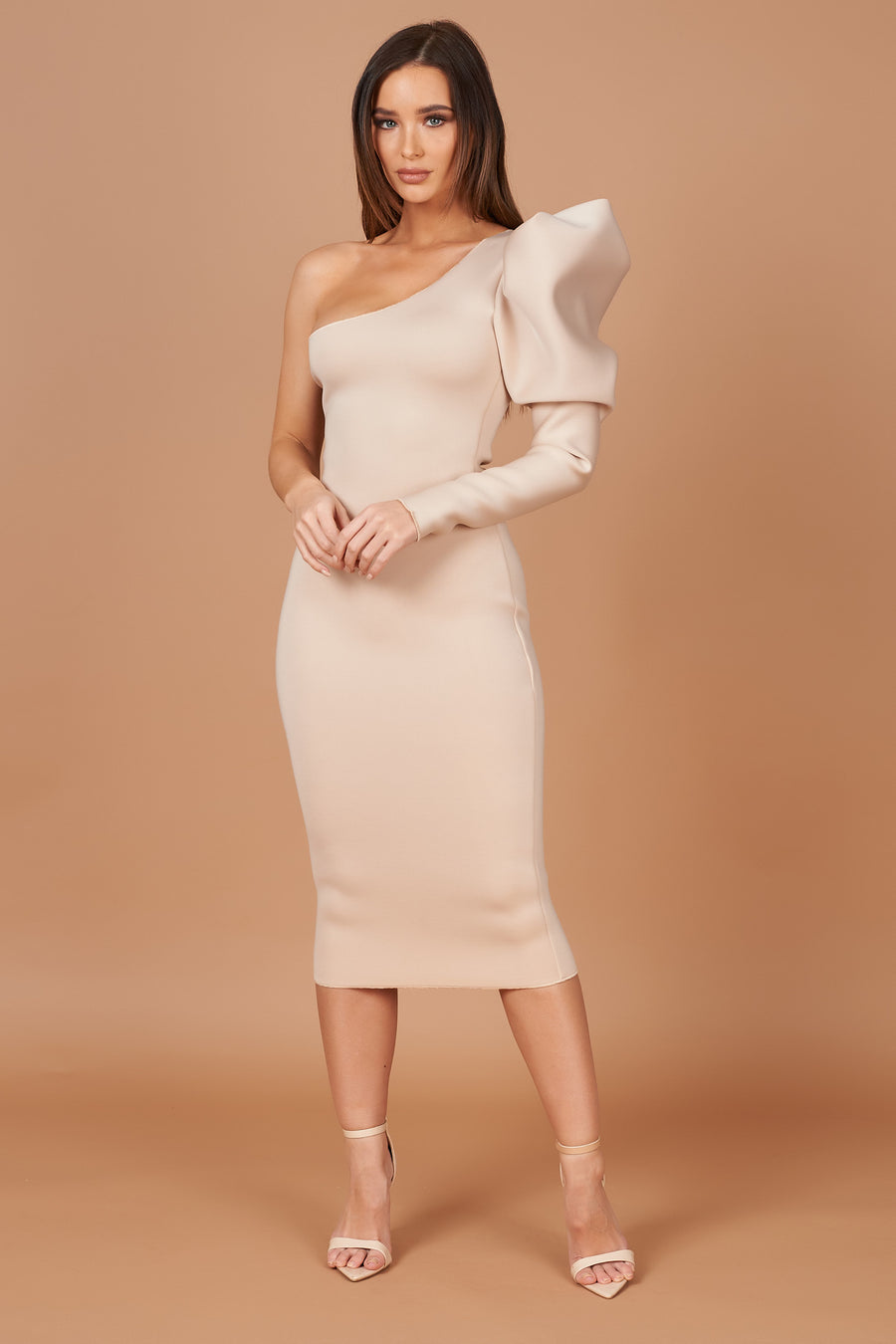 Beige Puff Sleeve Dress