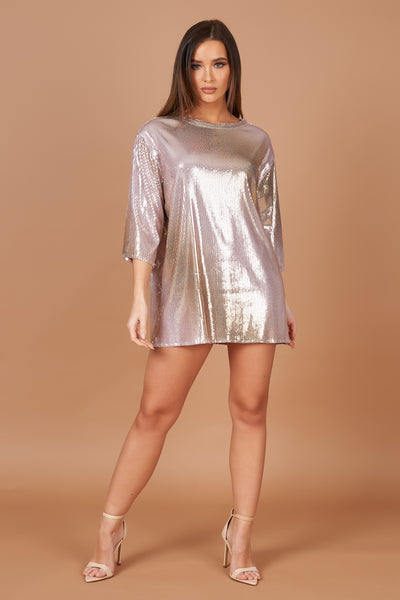 Pink Metallic Sequin T-Shirt Dress