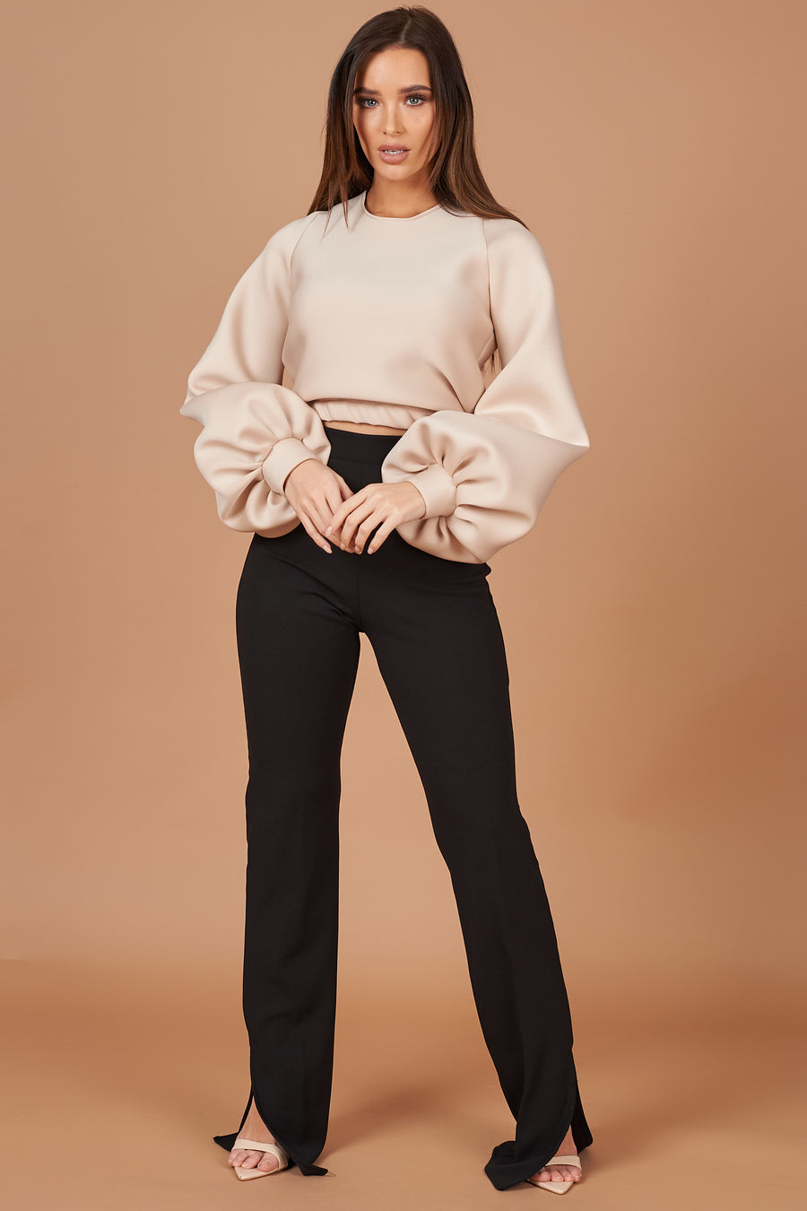 Beige Balloon Sleeve Jumper