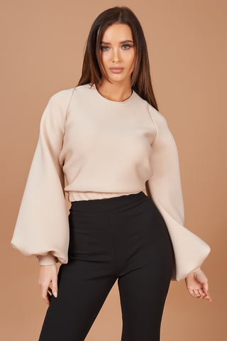 Nude Balloon Sleeve Jumper