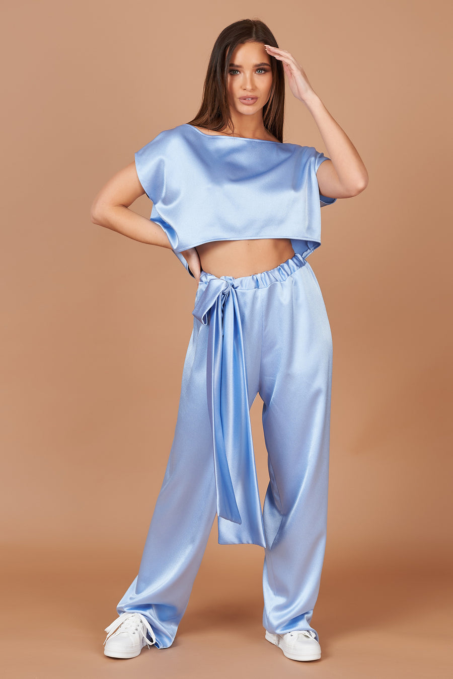 Powder Blue Satin Lounge Trousers