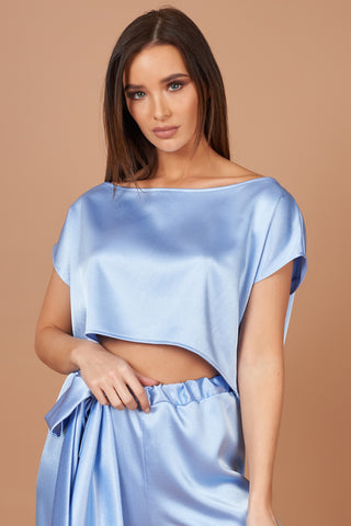 Powder Blue Satin Lounge Top