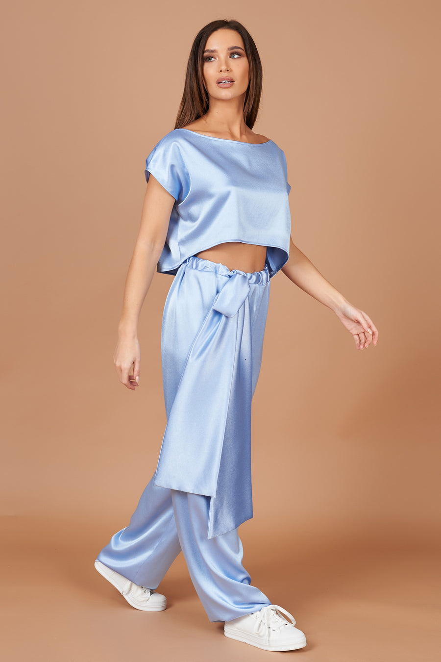 Powder Blue Satin Lounge Set