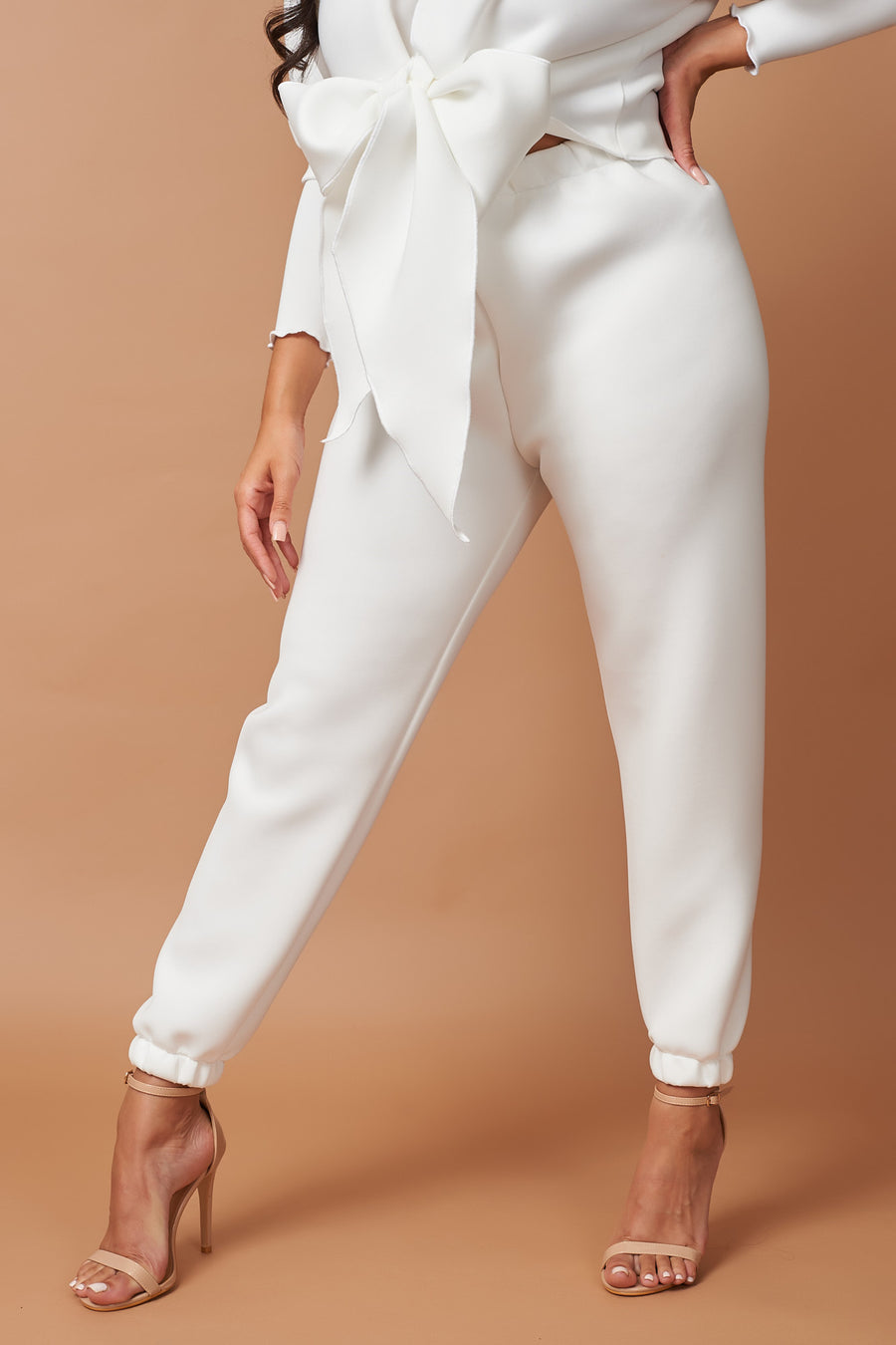 Ivory Neoprene High Rise Lounge Jogger