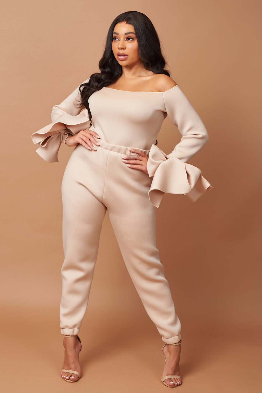 Beige Neoprene Bow Detail Lounge Set