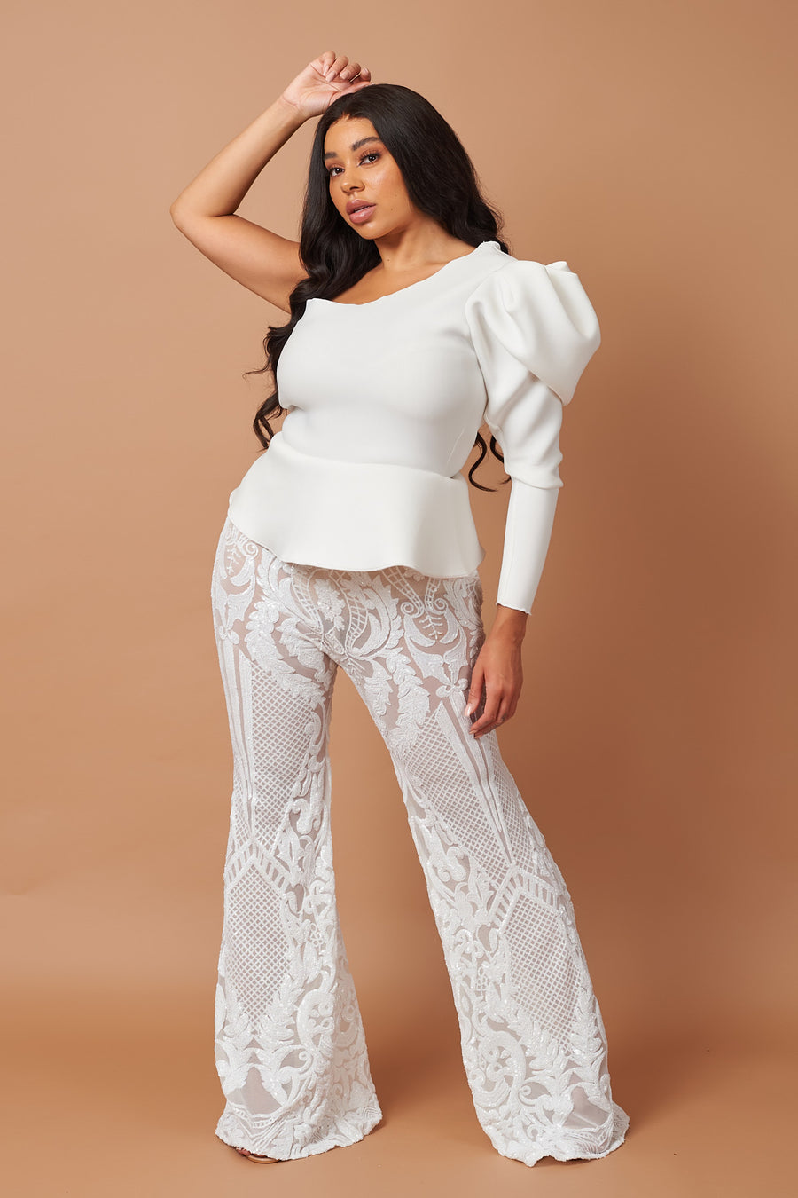 Ivory Pattern Sequin Stretch Flares