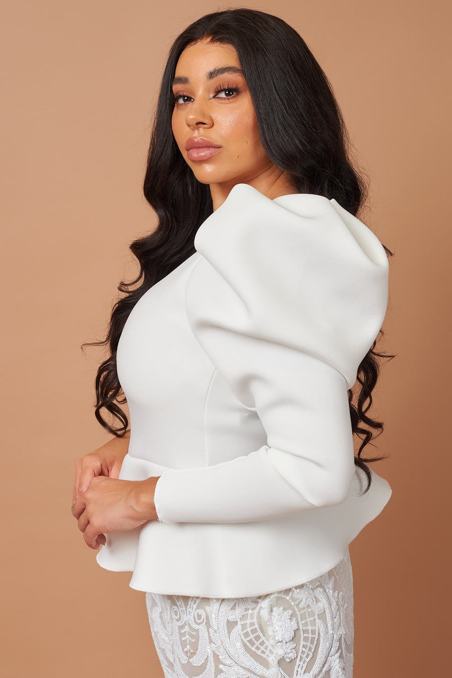 Ivory Puff Sleeve Peplum Top