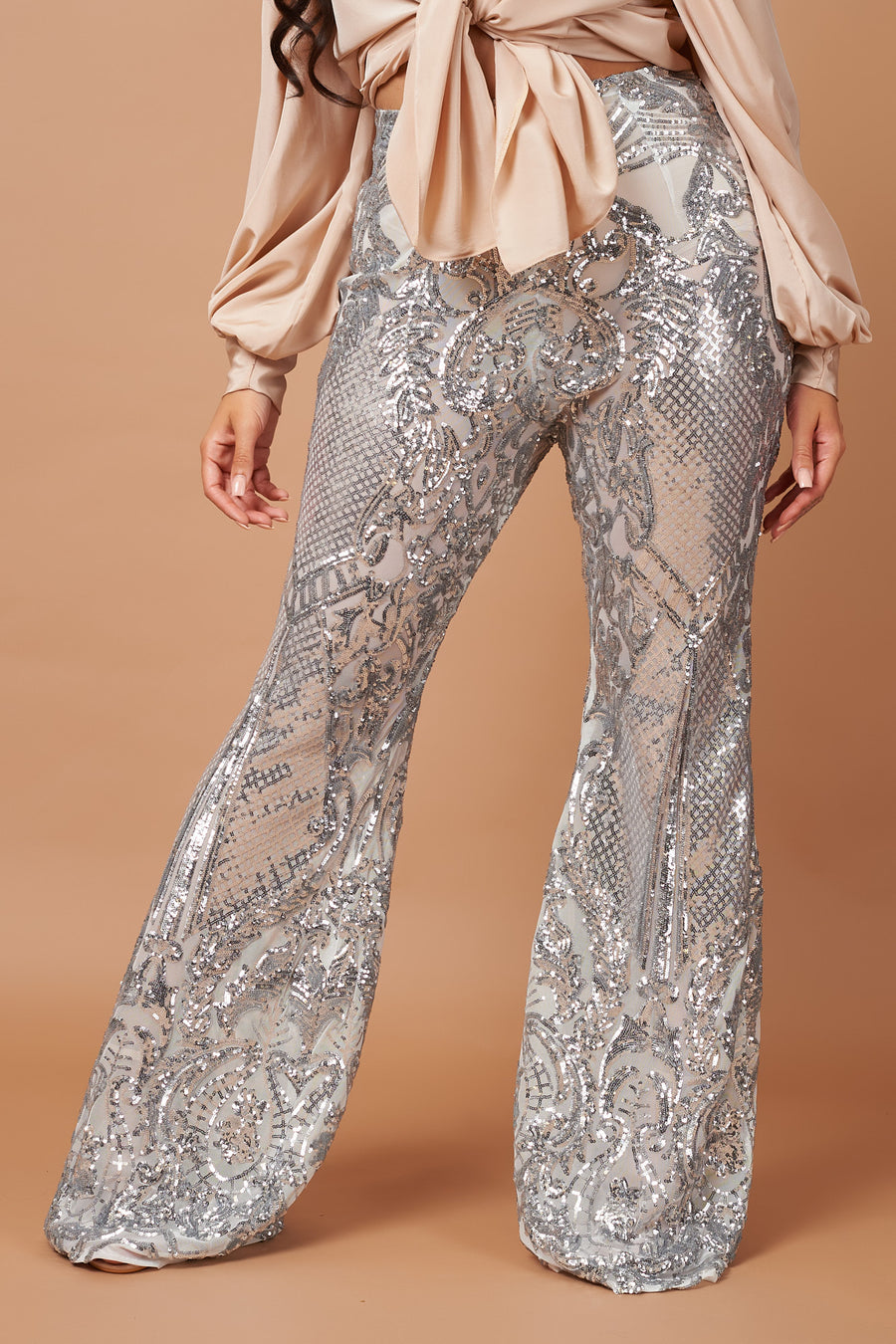 Silver Baroque Sequin Flares - SALE - Size 18 Length 48
