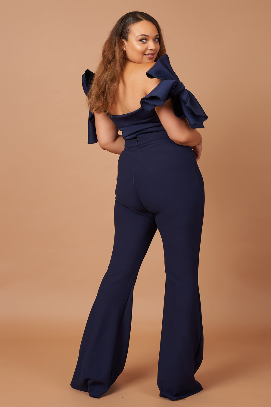 Navy Off Shoulder Bow Top