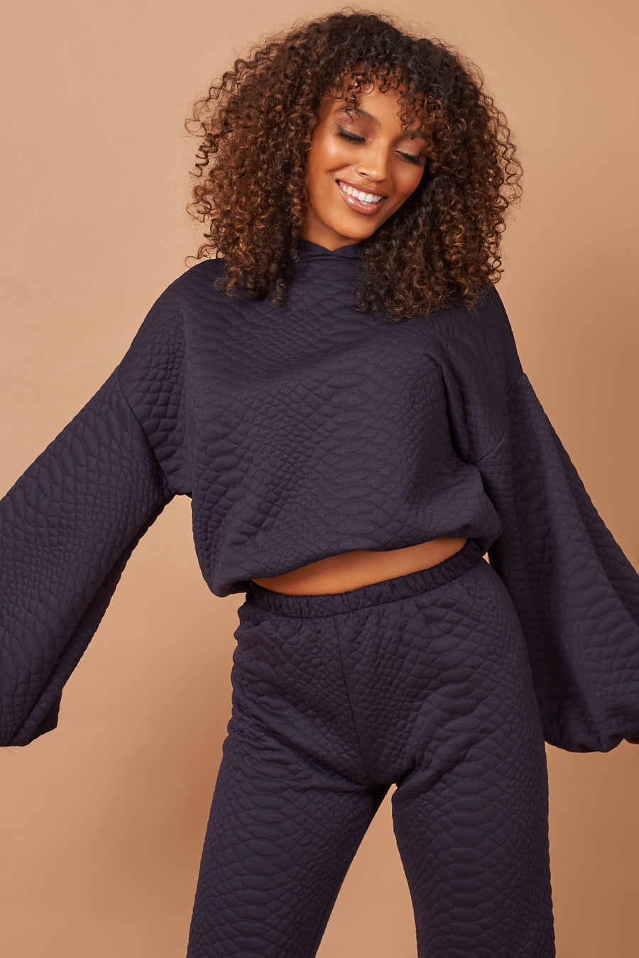Navy Textured Long Lounge Set